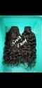 Natural Brown And Natural Black Deep Curly Weft Human Hair, Usage: Personal, Parlour