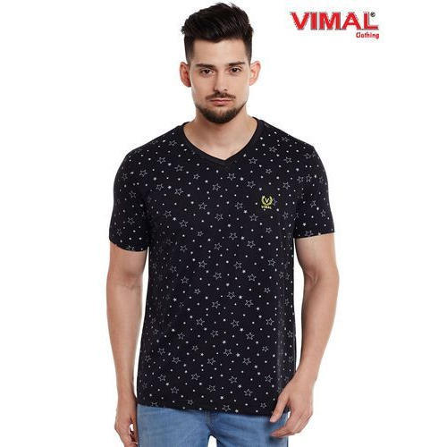 759ce027821 Vimal Printed Black V Neck Cotton T Shirt For Men