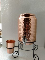 Cylindrical Hammered Copper Water Dispenser (Pot/ Matka) With Copper Glass, For Home, Capacity: 5 Litre