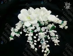 Artificial White Flowers Hair Juda Bun