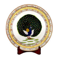 Marble Plate With Peacock Work