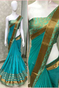 Georgette With Heavy Border Sky Blue Saree