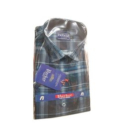 Cotton Collar Neck Parker Men Designer Check Shirt