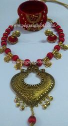 Presye Silk Thread Necklace With Earrings And Bangles