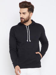 Men Black Cotton Hooded Sweatshirt