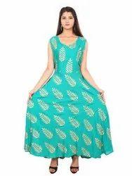 Rayon Gold Print Dress