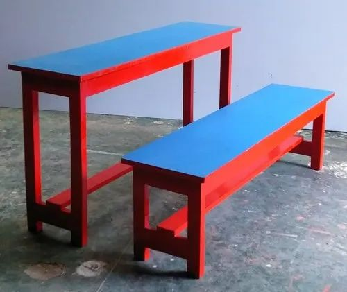 Blue and Red Wooden School Desk And Bench