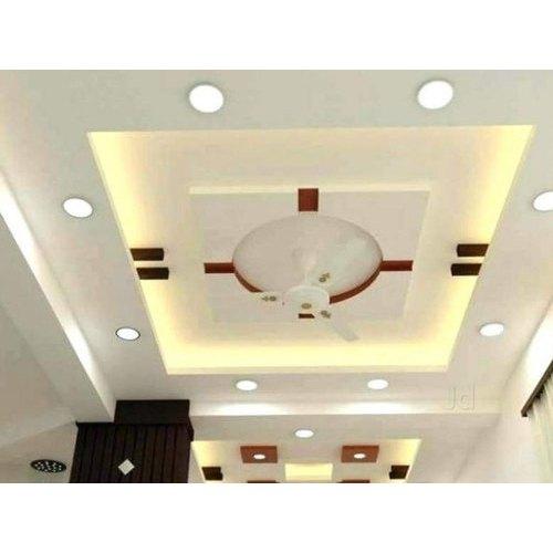 White Color Coated Designer POP False Ceiling, Thickness ...
