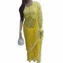 Yellow Chikan Saree