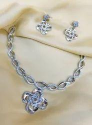 Silver Swirl Diamond Necklace