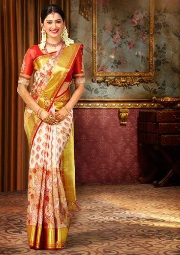 White And Gold Border Party Wear Wedding Fashionable Bridal Silk Saree