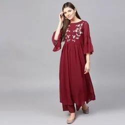 Cotton Stitched Designer Anarkali Suit, Machine wash