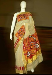 Mukham Printed Saree Party Wear Ladies Hand Painted Kerala Saree, With Blouse Piece