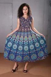 Women Mandala Printed Cotton Dress, Size: Medium