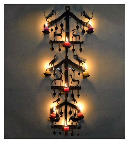 Metal Wall Hanging Candle Holder House