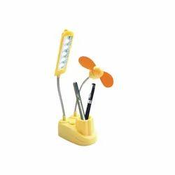 Plastic Fan LED Light and Pen Holder, For Office