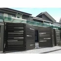 Brown Stainless Steel Automatic Sliding Folding Gate, For Residential