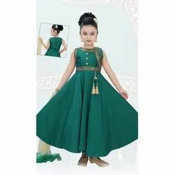 Chenon Party Wear Kids Girls Designer Frock, Packaging Type: Packet