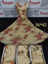 Festive Wear Women Printed Long Frocks, Size: 36 To 42