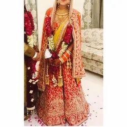 Red Raw Silk Ladies Bridal Lehenga Choli, Packaging Type: Box