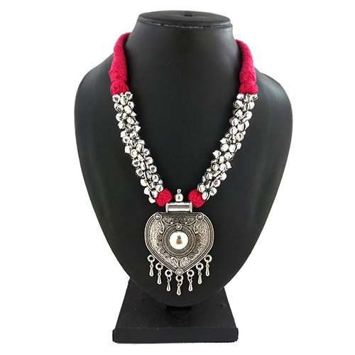 D9 Creation Oxidized Ghunghru Pink Thread Necklace, Box
