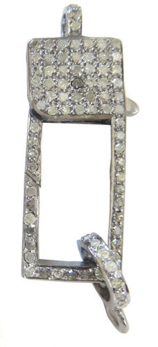 The Mask Jewellery 925 Sterling Silver Diamond Studded Silver Clasp, Size: 30 MM Length