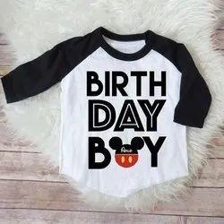 V-Neck Half Sleeves Kids Birthday T-Shirt