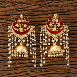 57476b9ca Red And Anniversary And Party Indo Western Chand Earring With Gold Plating  9412