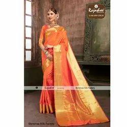 Plain Party wear Lakadi Gold Fancy Saree, 5.5 m (separate blouse piece)