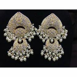 Gold natural uncut Diamond Polki Chandbali Earrings