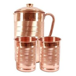 Metal Round Copper Jug And Glass, Capacity: 1750ml