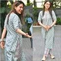 V Neck Ladies Cotton Kurti With Pant