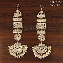 Pearl Kundan Bridal Chandbali Earrings With Kanchain