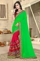 Embroidered Designer Green And Red Color Georgette Saree