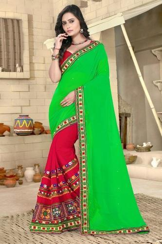 870a8a3f1 Georgette Embroidered Green And Red Color Designer Saree