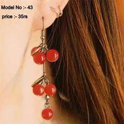 zinc alloy Party Wear Ear hook red beads earrings