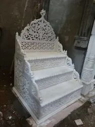 Modern Carved Indoor White Marble Masjid Mimber for Mosque