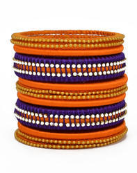 Orange Blue Silk Thread Bangle