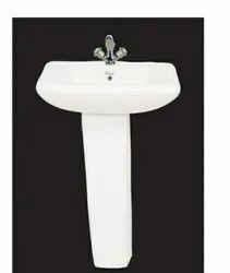 Ceramic White Wash Basin With Pedestal for Bathroom