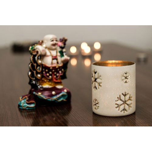 Glass,Brass Milky White Votive Candle Holder, Packaging Type: Box