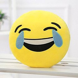 Round Yellow Laughing Tears Baby Pillow