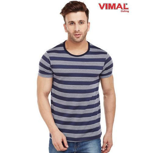 609c68880 Cotton Party Wear Vimal Navy Blue Striped Round Neck T Shirt For Men ...