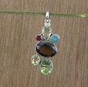 Designer Smoky and Garnet Gemstone 925 Silver Pendant
