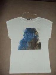 Cotton Round Ladies Printed T-Shirt