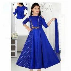 Blue Cotton Kids Anarkali Churidar