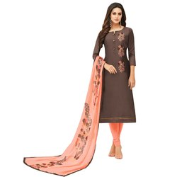 Rajnandini Brown Chanderi Silk Embroidered Semi-Stitched Dress Material With Printed Dupatta