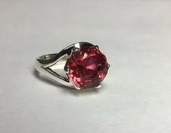 Natural Pink Tourmaline Round Gemstone Silver Ring