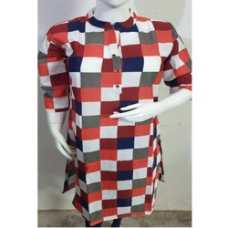 Ladies Checkered Cotton Kurti