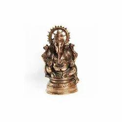 Golden (Gold Plated) Aluminium Shree Ganesh Statue, Ganesh Handicraft Statue, Packaging Type: Box, Size: 8-10 Inch