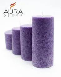 AuraDecor Lavender Pillar Set